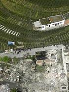 航拍四川雅安芦山县地震灾区 建筑损毁严重